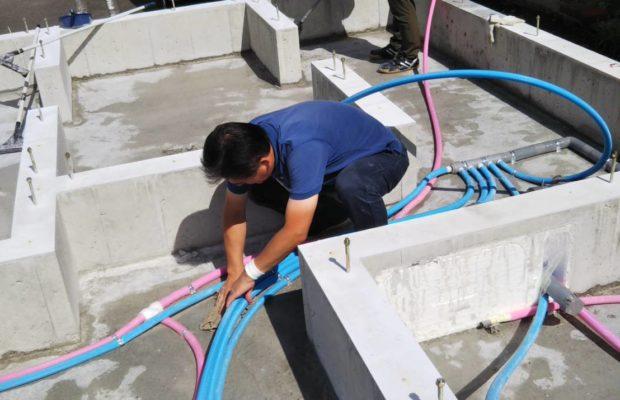 金沢市の注文住宅の基礎抗酸化作業の様子