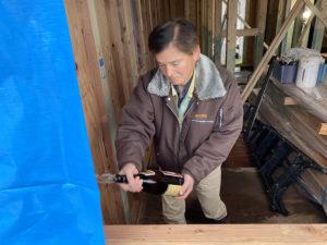 高岡市の注文住宅の上棟式の工事監督