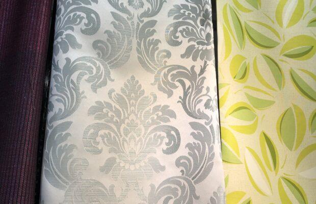 富山市の注文住宅のお打ち合わせ室用カーテン布